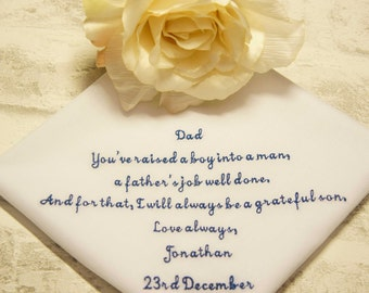 Father of the Groom Personalised Embroidered Wedding Handkerchief, Wedding Hanky, You've raised your son into a man