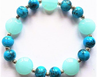 Sky Blue and Black Beaded Bracelet - Elasticated