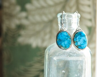 Natural Pilot Mountain turquoise earrings