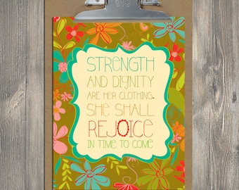 Christian Gift, Scripture art, Bountiful Blessings - Strength and Dignity, Christian art print