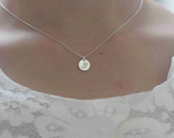 Personalized Initial Necklace Letter Necklace Disc necklace custom Monogram Necklace stamp necklace S41N