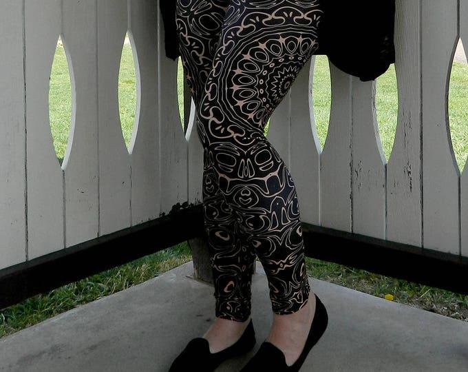 Featured listing image: Plus Size Leggings, Black Leggings with Brown Mandala Designs for Women, Printed Leggings, Camel Yoga Pants