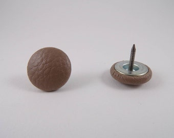 6 buttons round nail covered in leather taupe 20mm