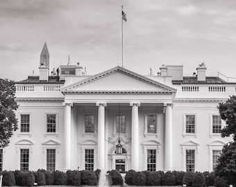 The White House - Washington DC  B&W Photography, Office Wall Art, National Mall, DC Photography, White House Canvas, DC Photo Art