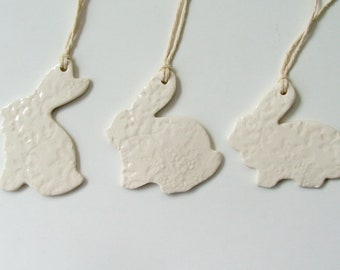 Set of Three ceramic Easter ornament /gift tags, Porcelain
