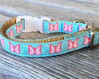 Butterfly Cat Collar, Butterfly Kitten Collar, Bright Blue Cat Collar, Pink Butterfly, Female Cat Collar