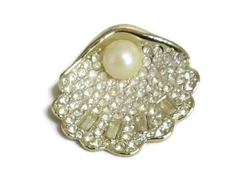 Pave Rhinestone and Faux Pearl Oyster Shell Brooch Vintage