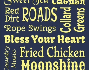 THE SOUTH typography stencil 11 x 20  - make your own sign!