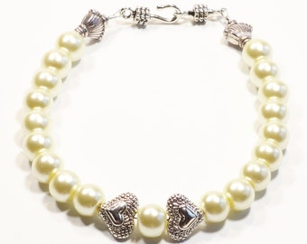 IVORY with HEARTS Women's stackable bracelet, stacking bracelet, statement bracelet, beaded bracelet, bridal bracelet