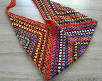 Crochet  hippie boho  bag, farmers market tote, crochet tote bag, multicolor handbag, market tote bag, crochet , beach tote bag, beach bag
