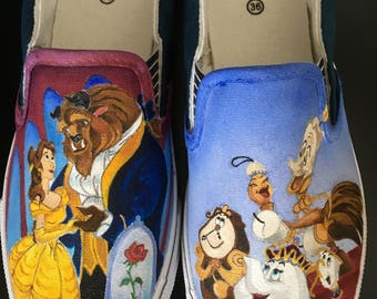 """handpainted shoes """"beauty and the beast"""""""