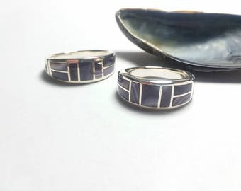 1 Sterling silver Wampum Inlayed Rings. Sizes choose ,8,9,10,11,12,13,14