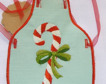 Candy Cane in a Bow Bottle Apron