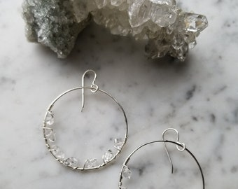 "1.5"" wide Herkimer diamond lined sterling silver hoops Pleiades seven sisters half moon large"