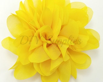 Bright yellow chiffon scalloped flower - Headband flower - Fabric flowers - Wholesale flowers - Hair bow supplies - Chiffon flowers