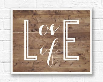 Inspirational words, typography wall art quotes, barn wood print, minimalist poster, simple art, positive quote print, love life print