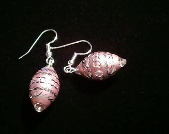 Pink Aluminum Laser Cut Bead and Crystal Handcrafted Dangle earrings