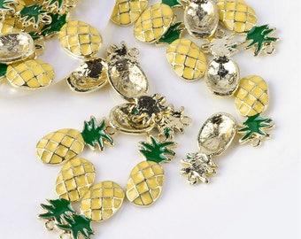 Pineapple Enamel Gold Alloy Pendant / Charm - 23.5mm long x 11.5mm wide
