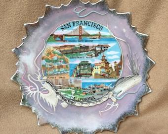 Vintage 60's San Francisco Ceramic Dish, San Francisco Souvenir, Mid Century Kitsch, Americana, Jewelry Dish, Soap Dish