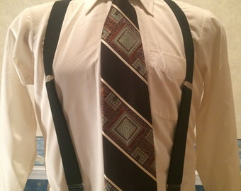 1970s Wide Necktie - Mens Geometric Patterned Polyester Tie - Brown Striped Disco Tie from Damon