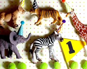 First Birthday Boy First Birthday Cake Topper Zoo Birthday Party Animal Birthday Party Safari Zoo Animals  Lion Elephant Giraffe