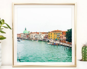 Home and Office Decor Photography Print - Pastel Mint, Aqua Venice, Italy - Black and White