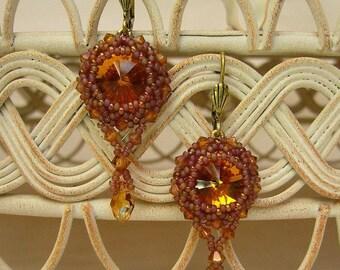 Swarovski earrings pearls work Crystal copper