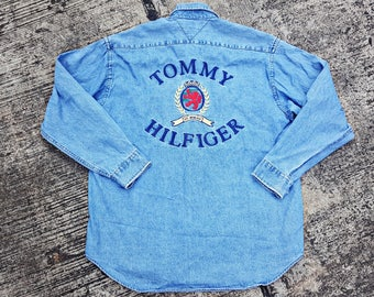 Vintage Tommy Hilfiger Jeans Shirt Big Logo And Arm Spellout Button Up 90s