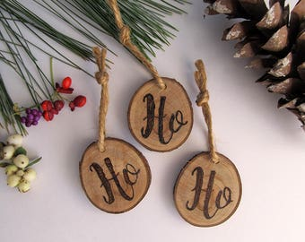 Christmas Ornaments / Set of 3 Reclaimed Wood Holiday Ornaments/ Stocking Stuffers / Ho Ho Ho Ornament Set / Wooden Rustic Holiday Decor