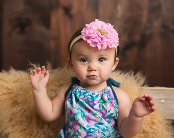 Pink and gold headband - Pink gold glitter headband - 1 birthday headband - Gold headband - Pink first headband - Flower headband