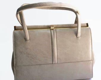 1960's Vintage Handbag | 60's Vintage Purse | Faux Leather Bag | Light Beige Ecru Purse | Elbief England Metal Frame