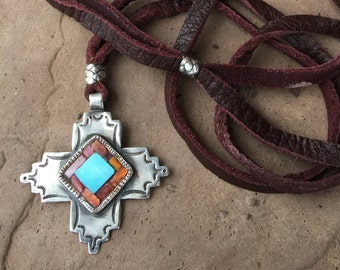 Charlie Favour Sterling Turquoise Oyster Shell Stamped Cross Pendant