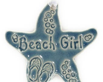 Christmas ornaments Christmas gift for friends beach girl ornament coastal Christmas starfish ornament beach ornament