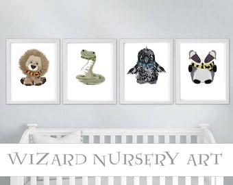 Woodland Nursery Art, wizard, babies, wizard hat, wizard wand, potion labels, nursery decor, wizard nursery, baby shower gift, wall art
