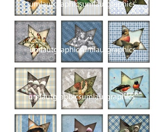 Digital Collage Sheet 2 Inch x 2 Inch Victorian Christmas Post Card Tags Stars