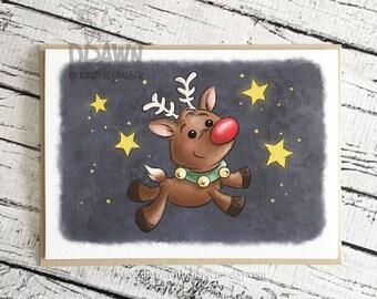 Christmas Holiday Cards: Reindeer in Night Sky- (CARD-RUStar2)
