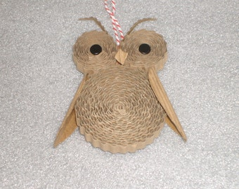 Cororugated Recollections Owl Ornaments for Christmas Tree, Holiday Decoration, Packaging