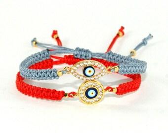 Evil eye  bracelet   evil eye red string Evil eye jewelry  Gold Evil eye with zc Protection bracelet Evil eye pendant for women