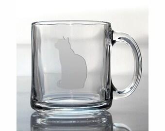Cat Coffee Mug / #5 / Free Personalization / 13 oz Animal Glass Coffee Mug / Tea, Hot Chocolate Mug / Personalized Mug / Personalized Gift