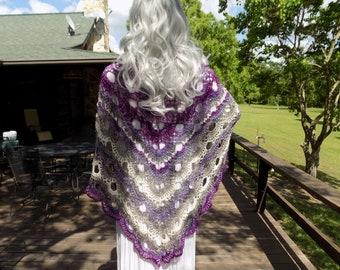 Hand Crocheted Virus SHAWL Purple Lavender White Gray