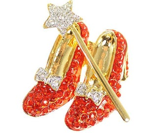 Ruby Slippers Brooch, Red Ruby Rhinestone Slippers Broach, Red Shoes Jewelry Component, Ruby Red Slippers Broach, DIY Craft Embellishment