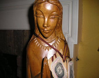 Vintage Religious Wooden Hand Carved Virgin Mary/Madonna Bust w/ Scapulars.German Devotional icon.