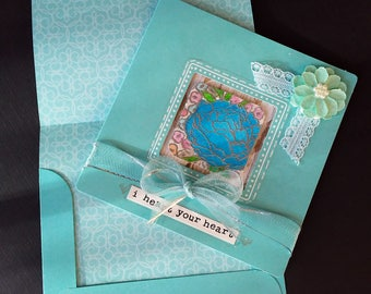 Aqua Tri-fold Card with Watercolor Accents - Blank Inside
