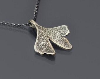 Sterling Silver Gingko Leaf Necklace