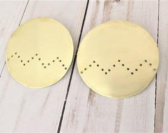 Gold Statement Earrings, Brass Earrings, Geometric Earrings, Minimalist Earrings, Circle Earrings, tribal earrings, chevron earrings