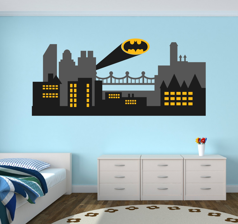 Gothic City Wall Decal Batman Gothic City Skyline Wall Art - Superhero wall decals for boys