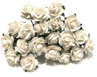 White Open Mulberry Paper Roses Or018