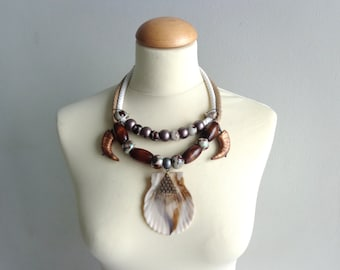 Tribal statement white brown necklace with a giant shell