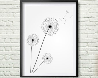 Dandelion Print, Black and white Minimalist Print, Instant Download, Dandelion Printable Wall Art, Modern Wall Art *76*