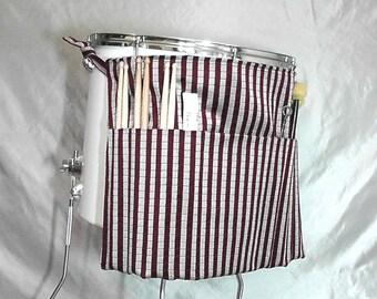 Rollen Sie es Ups Drumstick Tasche in rot und Silber Streifen - Drum Tasche Drumstick Stick Bag für Drummer am Schlagzeug und Percussion